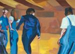 Painting Square Dancers Orange Blue Figuritive