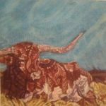 Painting brown cow