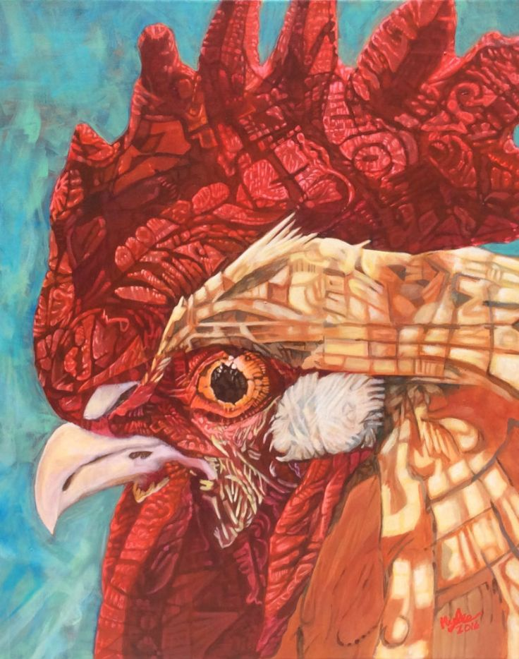 Painting yellow red chicken on blue 1st place contemporary art Denver County Fair 2016