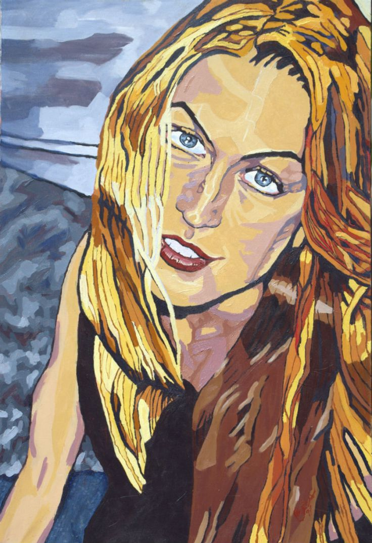 Painting blonde woman grey