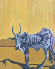 Painting white cow yellow background