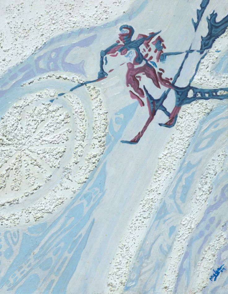 Winter Olympics skier snow red and blue painting
